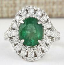4.83 Carat Natural Emerald 14K White Gold Diamond Ring