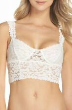Free People NEW White Womens Size Large L Floral Lace Long-Line Bralette $38 100