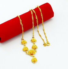 "Wedding Jewelry 24K Yellow Gold Plated 6 Rose Pendant Women Necklace 18"" P006"