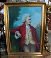 Antique Oil Painting Portrait of a 18th C. Gentleman with Red Coat Signed Framed