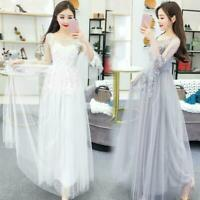 Lady Lace Floral Long Dress Lolita Sheer Tulle Mori Fairy Princess Chic Skirt