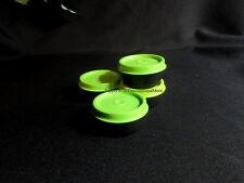 Tupperware NEW Set of 4 Black Smidget Smidgets Small Mini Containers Green Seals