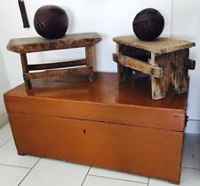 antico baule cassettone mobile legno massello abete restaurato '900 100x48x42
