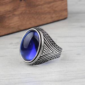 Handmade pure 925 SILVER ring Blue zircon stone for Men size jewelry Box RRP£40