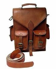 New Real Men's Leather Laptop Backpack Bag Large Hiking Travel Camping Carry On