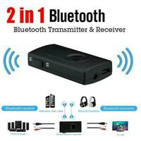 Bluetooth 5.0 Transmitter Receiver 2-IN-1 Wireless Audio 3.5mm Jack Aux Adapter^