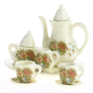 Ultra Tiny Antiquated Floral Painted Ceramic Tea Set for Dollhouse Displays