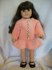 "18"" Doll Knitting Pattern fits American Girl Cotton Raglan Sweater and Skirt"