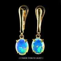Unheated Oval Fire Opal Hot Rainbow Luster 10x8mm 925 Sterling Silver Earrings