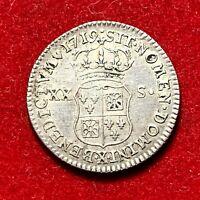 #2665 - RARE 1/6 écu (XX-S) de France Navarre 1719 X Amiens TTB+ qualité FACTURE
