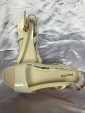 Miu Miu White Patent Leather Platform Sandals Size 37.5