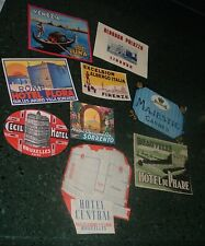 9 VINTAGE - TRUE VINTAGE Authentic 1940s Luggage Steamer Trunk Labels Europe