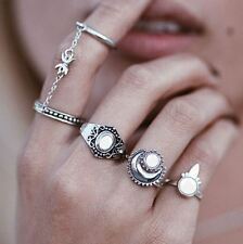 5 pcs Silver Rings Set Knuckle Urban Stack Above Band Midi Moonstone Rings