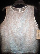 Jenni Max NYC Top Size Large White Eyelash Shell Sleeveless New With Tag