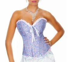 NEW SEXY BLUE BONED LACE UP CORSET BASQUE BUSTIERE - FREE P & P - UK SELLER