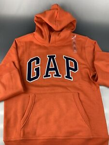 GAP Pullover Sweatshirt Kids Size XL (12) Orange Color with Hood 100% Cotton New