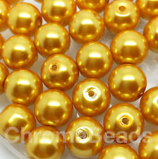 10mm Glass faux Pearls - Mustard (40 round pearl beads) rich yellow gold, craft