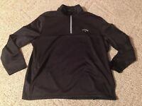 CALLAWAY Golf Men's Black 1/4 Zip Pullover Sweater Jacket XL X-Large Free Ship