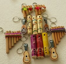 LOT 10 KEY CHAIN PERU SMALL  PERUVIAN MUSICAL INSTRUMENTS