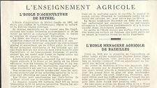 08 RETHEL BAZEILLES L' ENSEIGNEMENT AGRICOLE ARTICLE PRESSE 1937
