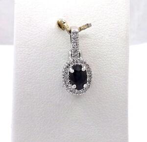 New 14K White Gold Sapphire Diamond Pendant