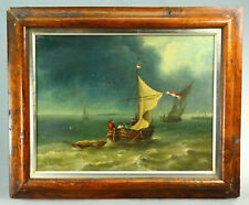 "! 1700's Dutch School O/C -  Seascape in Mahogany Frame, ""Approaching Storm"""
