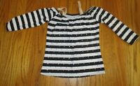 A Wish Come True black white sequin stripe dance top ISC 6X-7 girl jazz tap