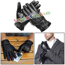 Hiver chaud Faux cuir Polaires Gants doublés des hommes tactile écran noir