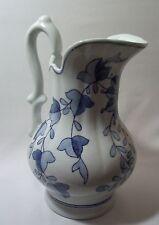 Larger Pitcher Blue & White Print Decorative Accessory Heavyweight Ceramic