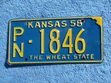 VINTAGE ORIGINAL KANSAS 1958 PN 1846 License VEHICLE Tag Man Cave Reissue.