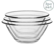 3x Mr Chef Glass Nesting Mixing Bowls Heavy Duty Dishwasher Microwave Safe