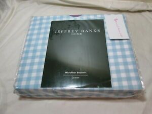 New Jeffrey Banks Home GINGHAM Queen Bedskirt ~ Light Blue and White Gingham NIP