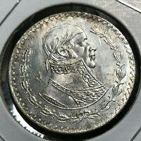 /> LARGE Brilliant Uncirculated SILVER MEXICO UN PESO Coin in Airtite Container!