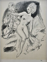 VINTAGE Art DECO EROTICA Original Pencil SIGNED 1930s LITHOGRAPH French Romance