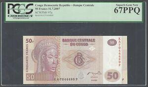 Congo Democratic 50 Francs 31-7-2007 P97a Uncirculated Graded 67