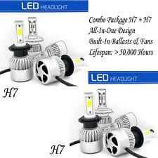 Combo H7 H7 LED Headlight Bulbs Kit High Low Beam Total 3000W 450000LM 6000K 4x