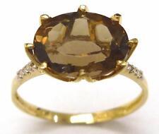 FINE 10KT YELLOW GOLD OVAL CUT SMOKEY TOPAZ & DIAMOND RING SIZE 7   R1428