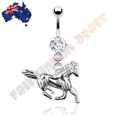 316L Surgical Steel Clear Jewelled Rhodium Plated Horse Belly Dangle Ring