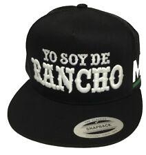 YO SOY DE RANCHO MICHOACAN MEXICO HAT 2 LOGOS BLACK MESH TRUCKER SNAP BACK
