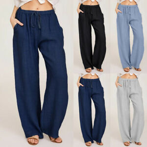 UK Womens Pants Ladies Loose Pockets Straight Yoga Elastic Sport Plain Trousers