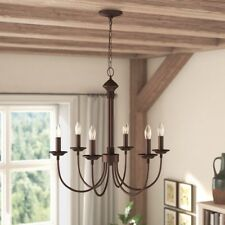 Trans Globe Lighting 9016 ROB Candle 24'' 6-Light Chandelier Rubbed Oil Bronze