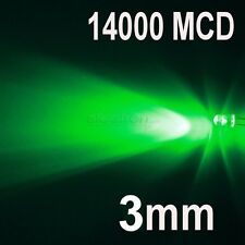 100 LED DIODI 3mm VERDE VERDI LUMINOSITA 14000 MCD 14K