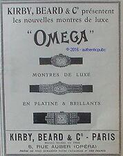 PUBLICITE OMEGA MONTRE BRACELET DE LUXE PLATINE BRILLANT DE 1926 FRENCH AD PUB