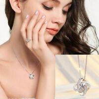 Rhinestone Infinity Necklace Twist Pendant Charm 925 Sterling Silver