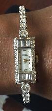 Lucien Piccard Art Deco 3 ct Diamond 14k white gold watch bracelet 5.5-6 in