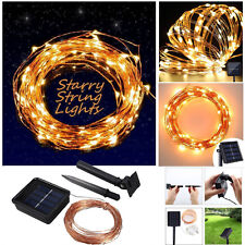 Solar powered 10M/33FT 100LED Copper Wire Outdoors String Fairy Light Warm White