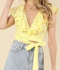 Women's Yellow Eyelet Crop Wrap Top Large
