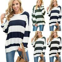 Women Striped Loose Pullover Long Sleeve T-Shirt Blouse Batwing Sleeve Tunic Top