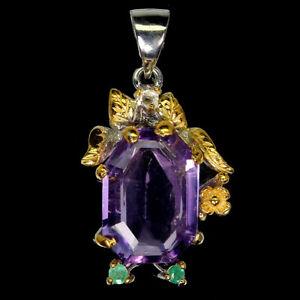 Handmade Fancy Purple Amethyst 17x11mm Emerald 925 Sterling Silver Pendant