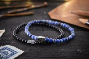 4mm - Matte Black Onyx & Blue Sodalite Beaded Stretchy Bracelets w silver cubes